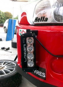 Side mounted ST-4 LED spot light on Hyundai World Rally Car